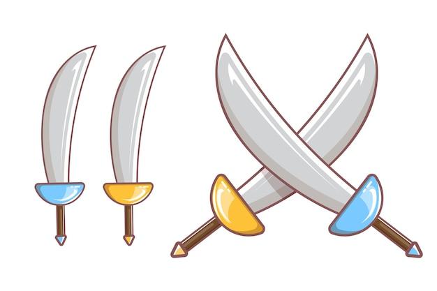 Cartoon middeleeuwse piraat wapenset