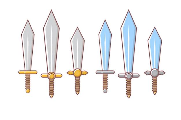 Cartoon middeleeuwse ridders wapens set