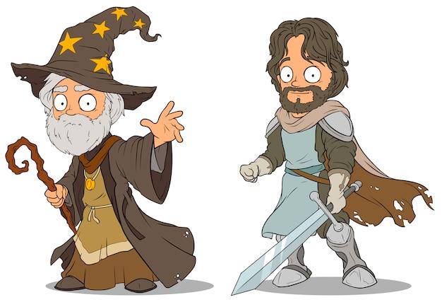 Cartoon middeleeuwse tovenaar en ridder tekens instellen