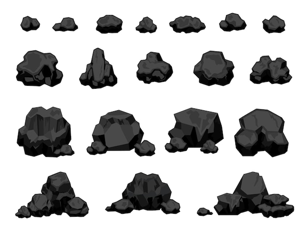 Cartoon mijn zwarte kolen stukken en stapels, brandend materiaal. houtskoolbrokken voor vuur, natuurlijke energieproductie. kolen rotsen vector set. verbranding of energie-elementen geïsoleerd op wit