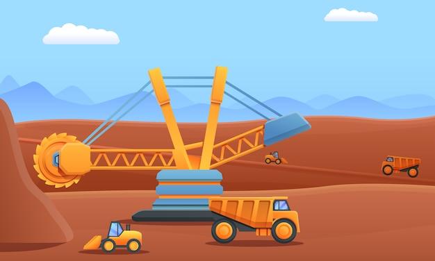 Cartoon mijnbouw digger dump truck en graafmachine werken in een steengroeve, vectorillustratie