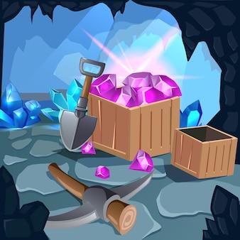 Cartoon mijnbouw spel illustratie