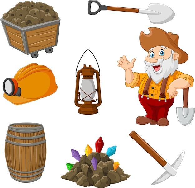 Cartoon mijnwerker verzameling gereedschap set