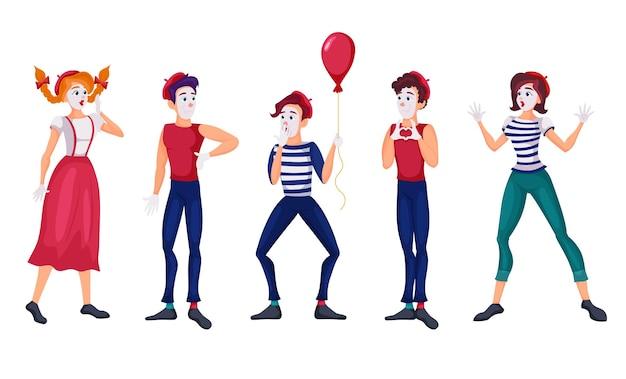 Cartoon mimespelers vlakke afbeelding