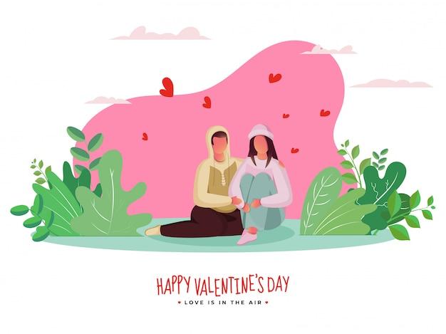 Cartoon minnaar paar zitten samen met harten en groene bladeren op roze en wit