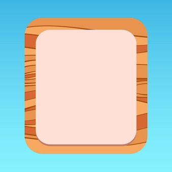 Cartoon mobiel ui pop-uppaneel met houtpatroon premium vector