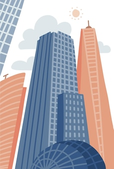 Cartoon moderne stad in platte hand getrokken stijl stedelijke stadsgezicht met wolkenkrabbers stedelijke eigendom vector ...
