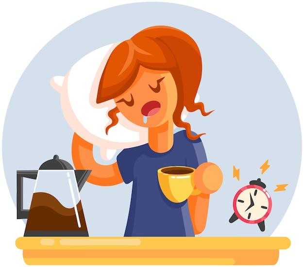 Cartoon moe slaperig gapende vrouw met kopje koffie.