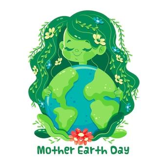Cartoon moeder aarde dag illustratie
