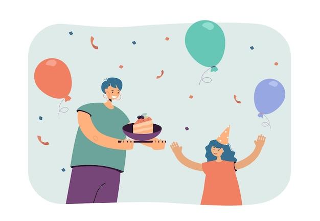 Cartoon moeder die een stuk verjaardagstaart geeft aan een gelukkige dochter