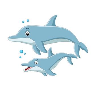 Cartoon moeder dolfijn zwemt met baby