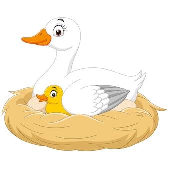 Cartoon moeder eend met haar baby in het nest
