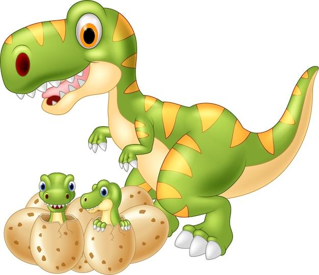 Cartoon moeder en baby dinosaurus broedeieren