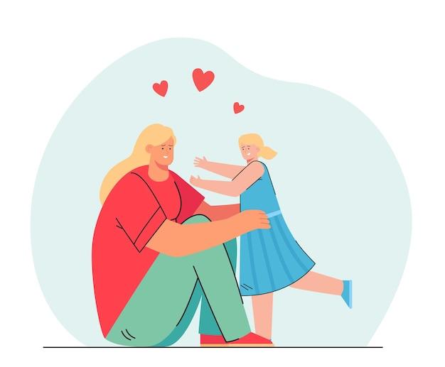 Cartoon moeder en dochter knuffelen. vlakke afbeelding