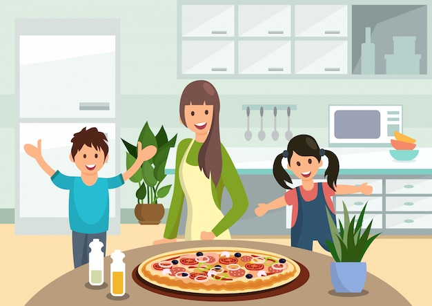 Cartoon moeder feeds kinderen met gekookte pizza