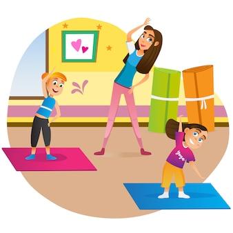 Cartoon moeder met kinderen doen oefening op mat