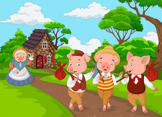 Cartoon moeder varken met drie kleine varkens