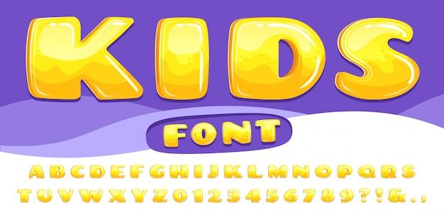 Cartoon mollig lettertype. kids game alfabet, kind cartoons bubble belettering en cartoony lettertypen nummers illustratie set