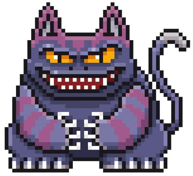 Cartoon monster cat pixel ontwerp