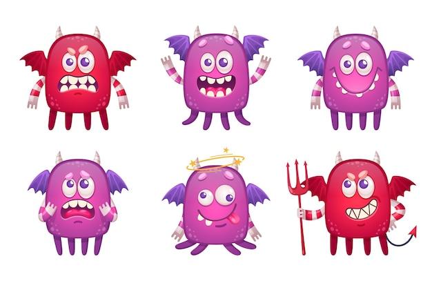 Cartoon monster emoticons set met karakters van kinderachtige beesten met geïsoleerde vleugels