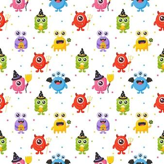 Cartoon monster schattige gelukkige monsters halloween naadloze patroon op witte achtergrond