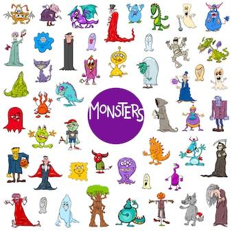 Cartoon monster tekens grote reeks