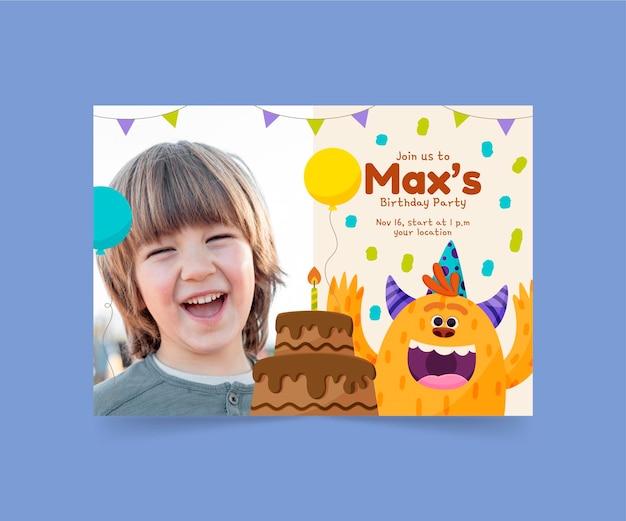 Cartoon monster verjaardag uitnodiging sjabloon met foto