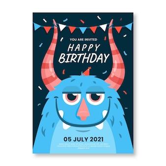 Cartoon monster verjaardag uitnodiging sjabloon