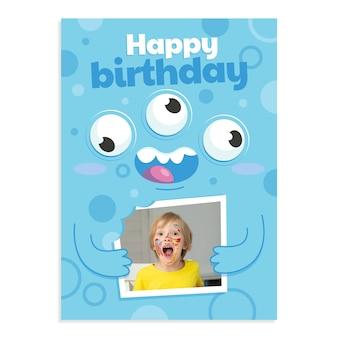 Cartoon monster verjaardagsuitnodiging met foto