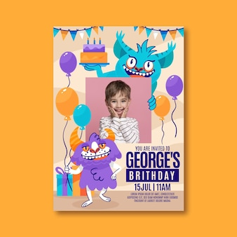 Cartoon monster verjaardagsuitnodiging sjabloon met foto