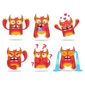 Cartoon monsters instellen voor embleem of sticker