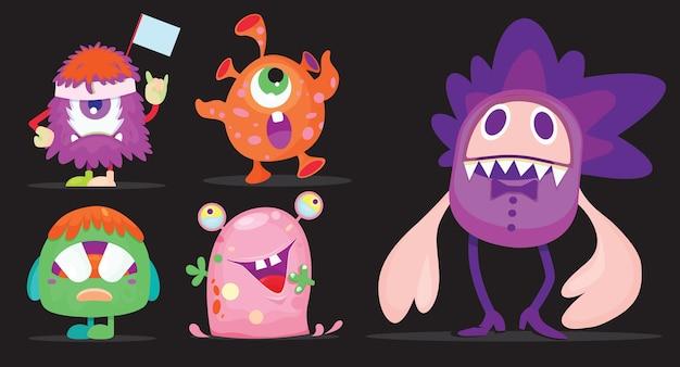 Cartoon monsters instellen voor halloween