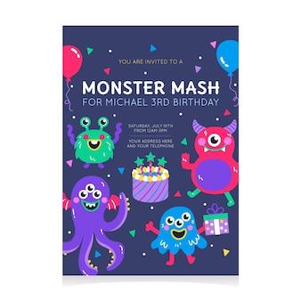 Cartoon monsters verjaardag uitnodiging sjabloon
