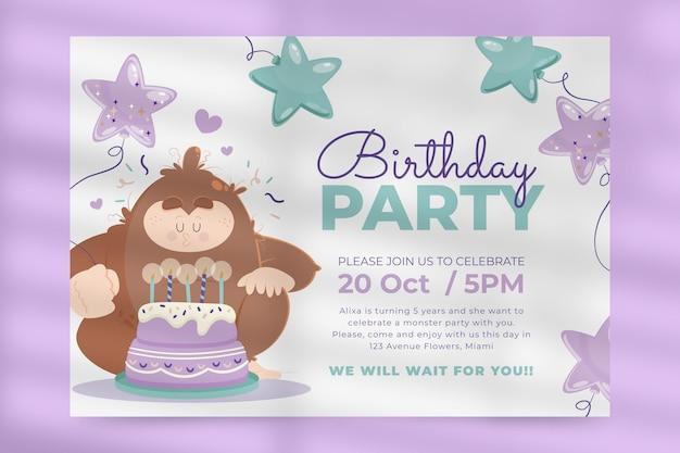 Cartoon monsters verjaardagsuitnodiging