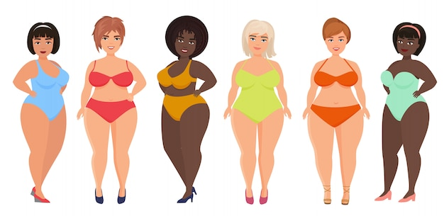 Cartoon mooie plus size gebogen vrouwen in ondergoed, badpak, vrouwelijke zwemkleding.