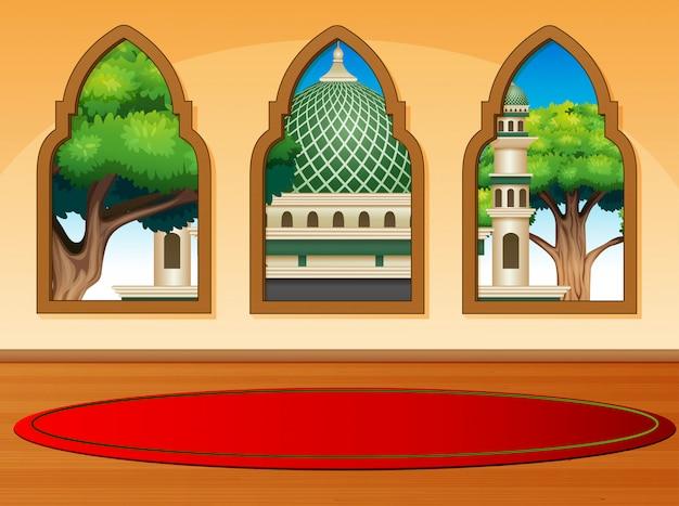 Cartoon moskee uitzicht vanaf de binnenkant
