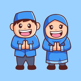 Cartoon moslim jongen en meisje groet,