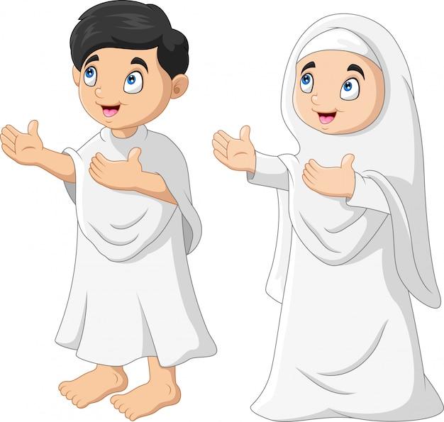 Cartoon moslimkinderen bidden