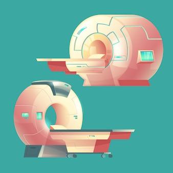 Cartoon mri-scanner voor tomografie, medisch onderzoek.