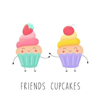 Cartoon muffins met aardbeien en kersen. zoete cupcake