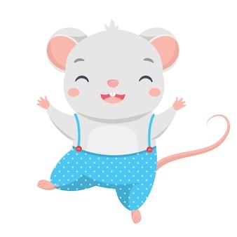 Cartoon muis dans. happy little cute rat karakter