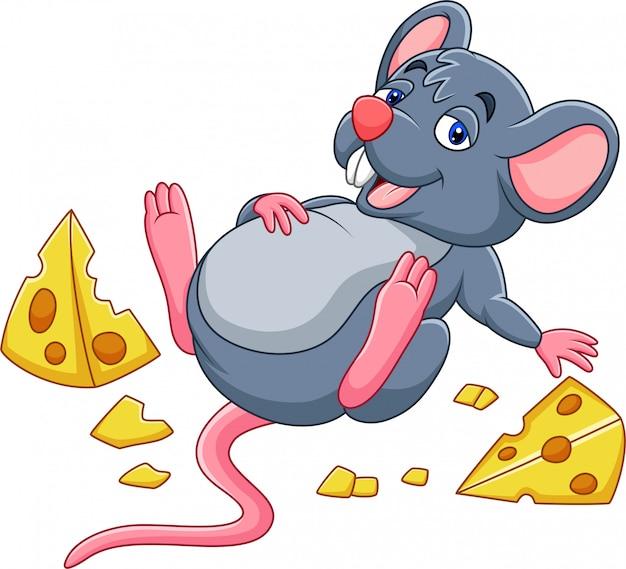 Cartoon muis met een kaas en volle buik