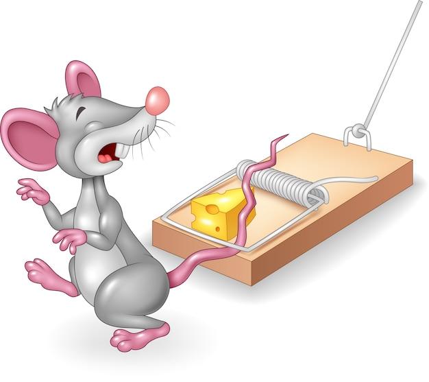 Cartoon muis verdrietig blootgesteld aan gratis kaas in een muizenval