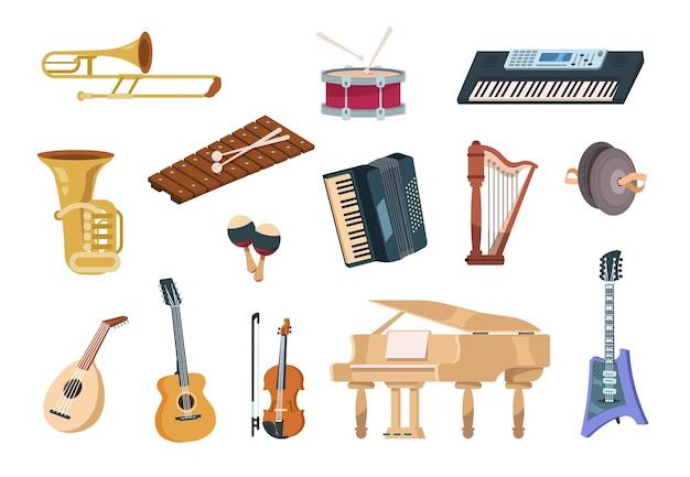 Cartoon muziekinstrumenten. akoestische, elektrische, snaar- en blaasinstrumenten met piano
