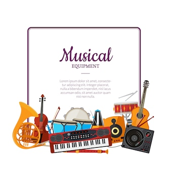 Cartoon muziekinstrumenten frame. muziek