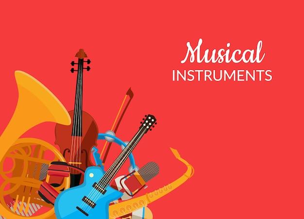 Cartoon muziekinstrumenten
