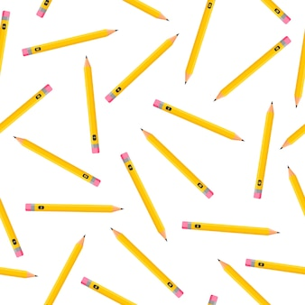 Cartoon naadloze patroon met eenvoudige potloden op witte achtergrond voor web, print, doek textuur of behang.