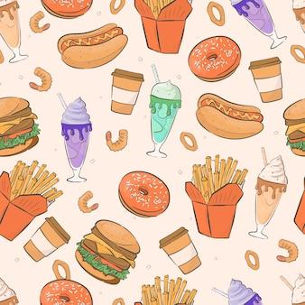 Cartoon naadloze patroon met fast food en milkshakes.