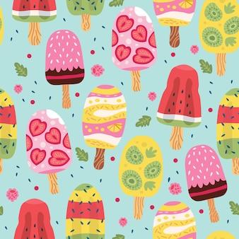 Cartoon naadloze patroon met ijs in wafel kegels