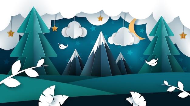 Cartoon nacht landschap